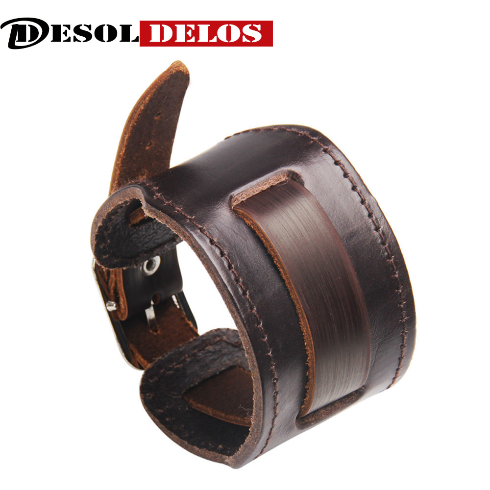 Fashion Men Leather Bracelet Open Cuff Rope Bangles Bracelet Double Wide Black Brown Color Vintage Punk Unisex Jewelry 2019 in Charm Bracelets from Jewelry Accessories