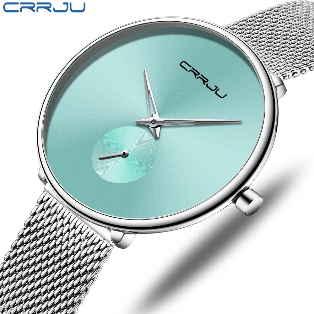 CRRJU Watch Women Stainless Steel Quartz Watches Lady Top Brand Luxury Fashion Clock Simple Wrist Watch Relogio Feminino