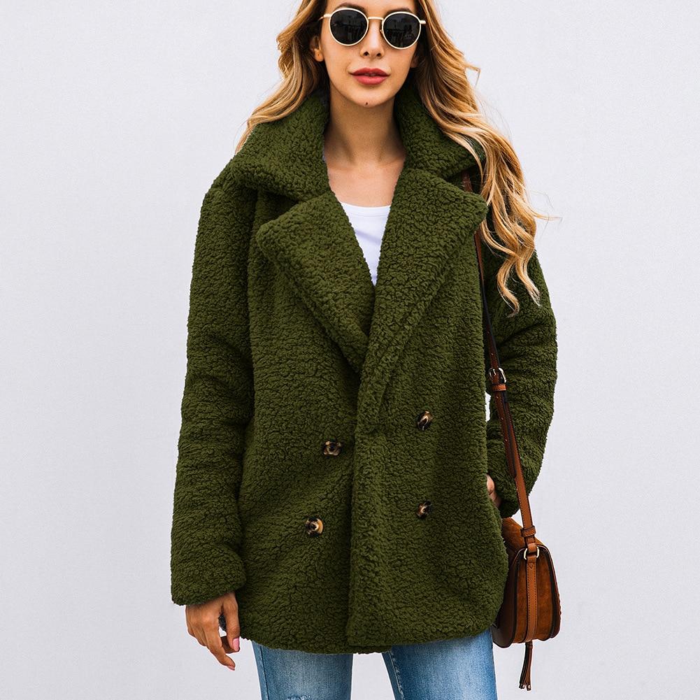 Women's Coat Casual Lapel Fleece Fuzzy Faux Shearling Button Warm Winter Oversized Outwear Jackets With Pockets Dropshipping