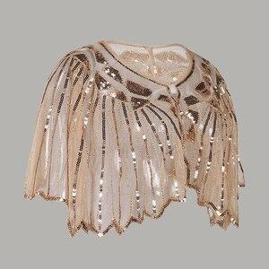 Image 2 - Vintage 1920s sineklik şal pullu boncuklu kısa pelerin boncuklu dekorasyon Gatsby parti örgü kısa Cover Up elbise aksesuarı