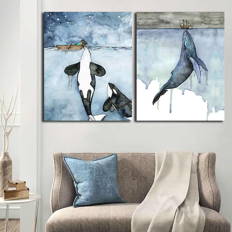 Pintura Em Aquarela De Orca Baleia Seascape Parede Arte Fotos Cartaz E Impressões Pintura Cuadros Arte Para Sala De Estar Decoração Casa Pintura E Caligrafia Aliexpress