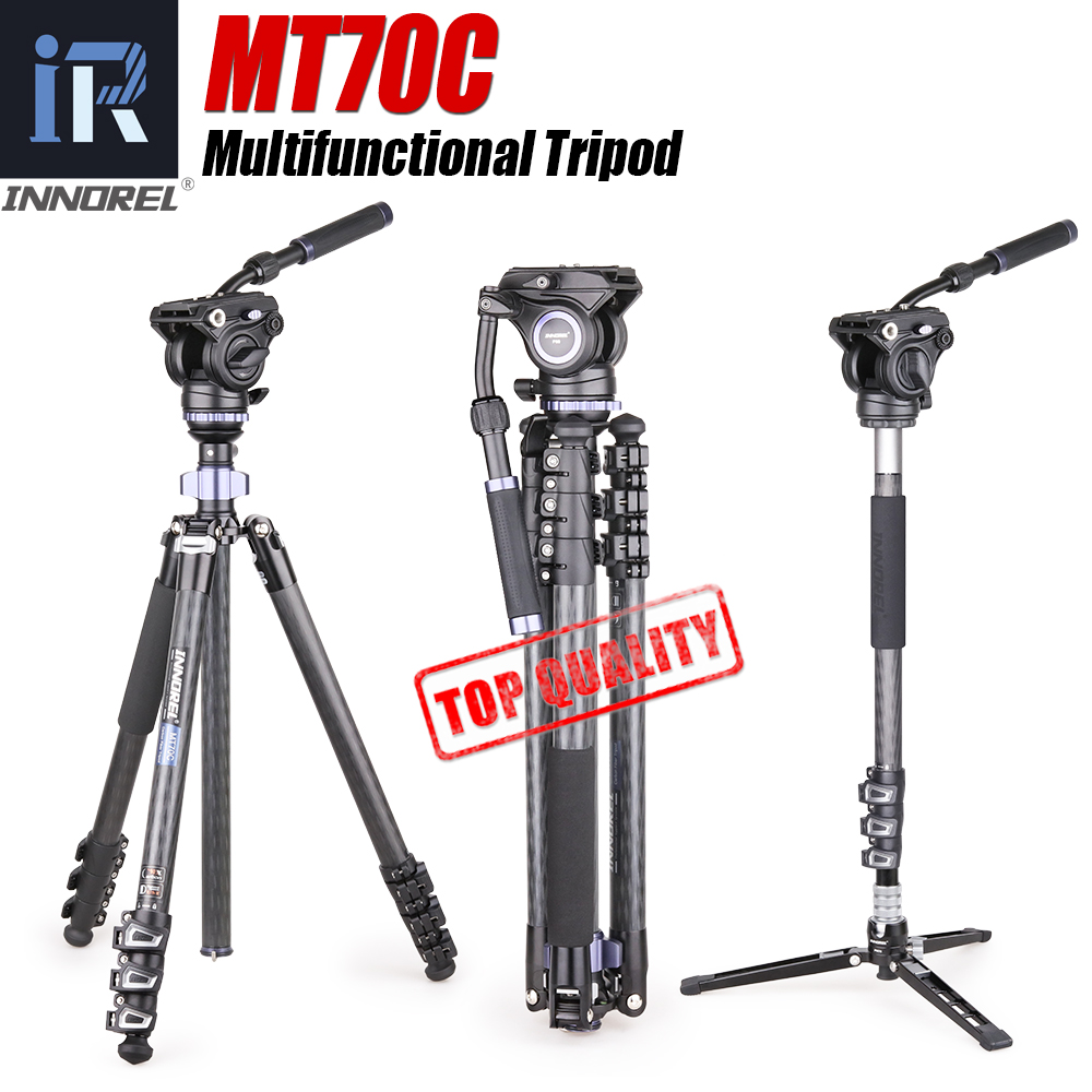 MT70C Carbon Fiber Video Camera Tripod Monopod Fluid Head Panoramic Professional Tripod Kit for Digital DSLR Camera Camcorder