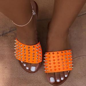 Women Rivet Slippers Flat Casu