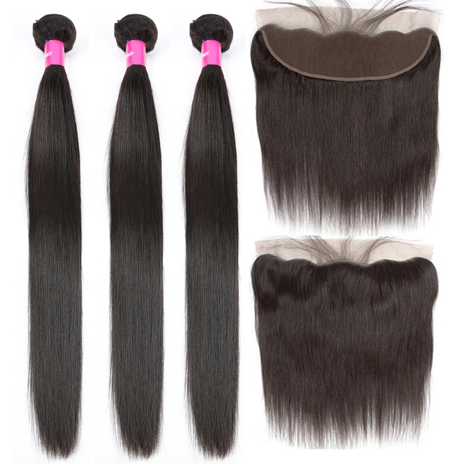 Tuneful Straight Human Hair 3 Bundles With Frontal Closure Malaysian Remy Hair Pre Plucked Lace Frontal Closure With Bundles