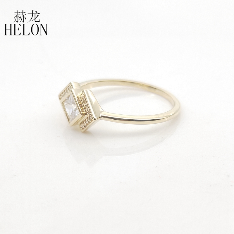 Image 2 - Solid 10k Yellow Gold Princess cut 4MM 100% Genuine AAA Graded Cubic Zirconia Engagement Wedding Women Trendy Jewelry Ring GiftRings   -