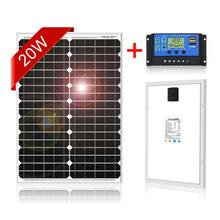 Dokio 12V 20W Panel słoneczny monokrystaliczny sztywny wodoodporny Panel fotowoltaiczny do domu z kontrolerem usb 5V 10A