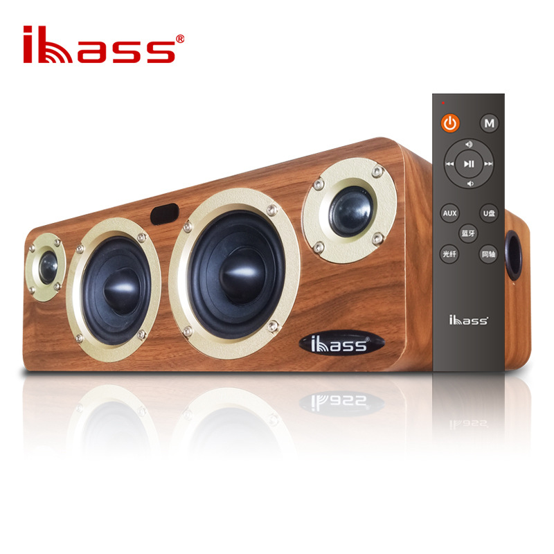 IBASS Solo Fever Bluetooth Speaker Computer TV Coaxial Audio Subwoofer Wooden Non Destructive Loudspeaker 80W Outdoor Household