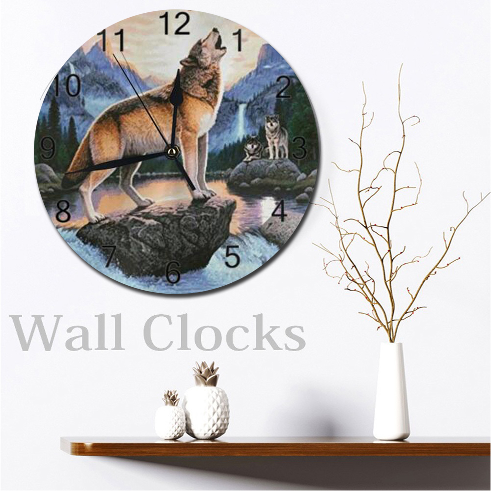 Wolf Wall Clocks Numeral Digital Dial Mute No Ticking Slient Battery Operated Kitchen Clocks Kitchen Wall Decor For Livingroom