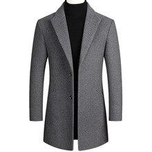 Men's Black Woolen Overcoat Men's Windbreaker Men's Grey Woolen Overcoat Men's Black Overcoat Men's Wine Red Woolen Overcoat