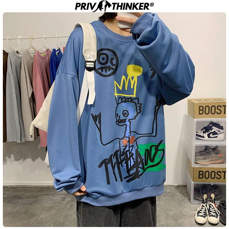 Privathinker Men Woman 3 Colors Spring Hoodies Couple 2020 Fashion Printed O-Neck Sweatshirt Male Oversize Streetwear Clothing