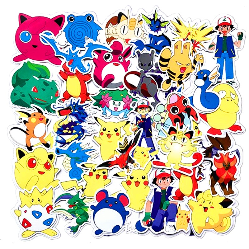 50 100 PCS Pokemons Cartoon PVC Waterproof Pikachu Sticker Notebook Computer Laptop Bar Case Car Sticker