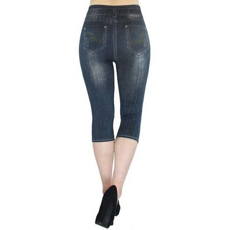 Kobiety Mock kieszeń spodnie 2019 lato 3/4 legginsy kobiety przycięte spodnie Slim Denim Skinny plus size kobiet krótki Legging
