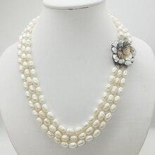 Классическое ожерелье! 3 ряда 7-8 мм натуральный белый рис зерна жемчужное ожерелье, 18-22 дюймов