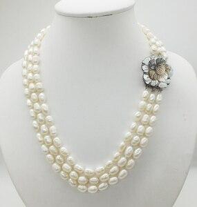 Image 1 - Классическое ожерелье! 3 ряда 7 8 мм жемчужное ожерелье из натурального зернистого белого риса, 18 22 дюйма
