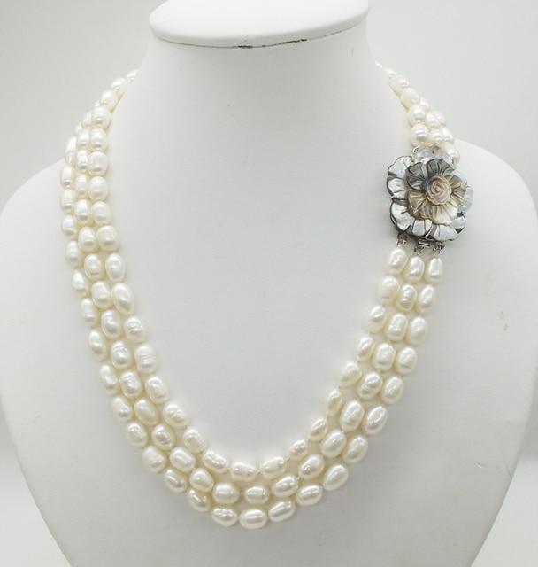 Классическое ожерелье! 3 ряда 7 8 мм жемчужное ожерелье из натурального зернистого белого риса, 18 22 дюйма