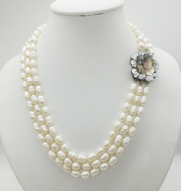 Classic necklace! 3 rows of 7 8MM natural white rice grain pearl pearl necklace, 18 22 inches