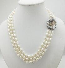 Collana di classici! 3 file di 7 8MM bianco naturale chicco di riso perla collana di perle, 18 22 pollici