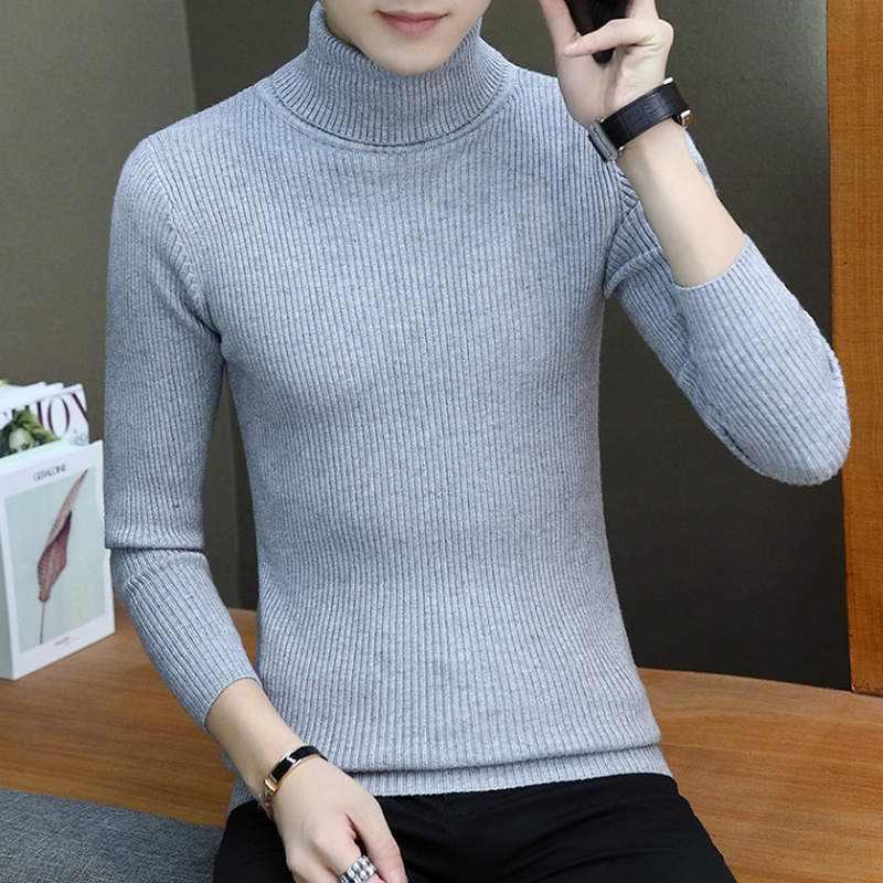 2019 New Autumn Winter Men'S Sweater Men'S Turtleneck Solid Color Casual Sweater Men's Slim Fit Brand Knitted Pullovers Add Wool