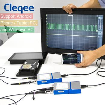 Cleqee Android&PC Virtual Digital USB Oscilloscope Handheld can connect  2 Channel Bandwidth 20Mhz/50Mhz sampling data 50M/1G hantek 6022be laptop pc usb digital storage virtual oscilloscope 2 channels 20mhz handheld portable osciloscopio