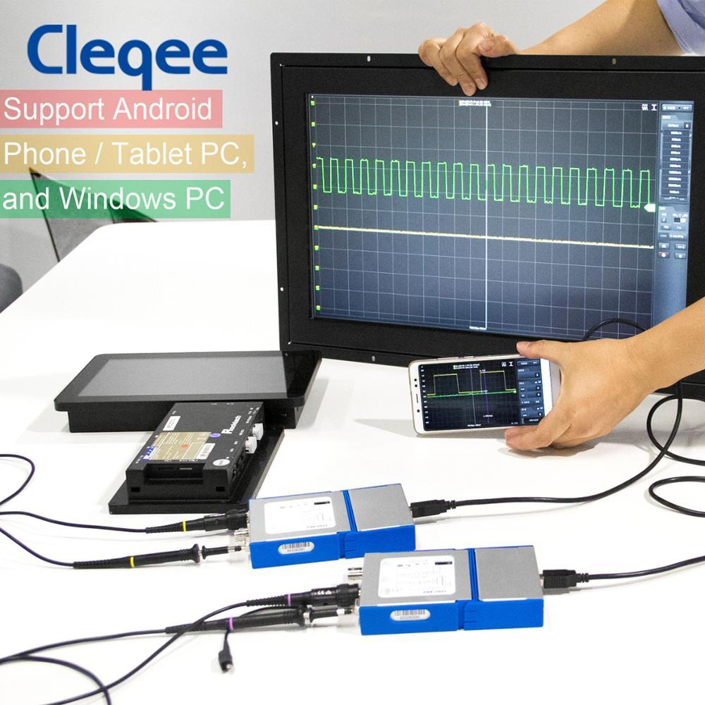 Cleqee-Oscilloscope numérique USB virtuel, en forme de connexion, à 2 canaux, en bande, 20 Mhz/50 Mhz, données d'échantillonnage, 50 M/1G