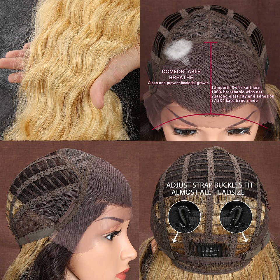 Ombre Blond 71CM długie 13X4 syntetyczna koronka przodu peruki dla czarnych kobiet kolacja głębokie naturalne włosy falowane włókno termoodporne włosy