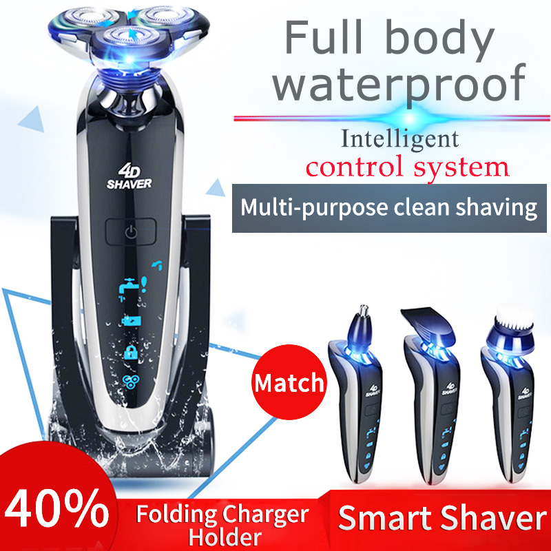 Electric Shaver Rechargeable Full Body Washing Intelligent Digital Display Shaver Multifunctional Razor Rechargeable  Clipper