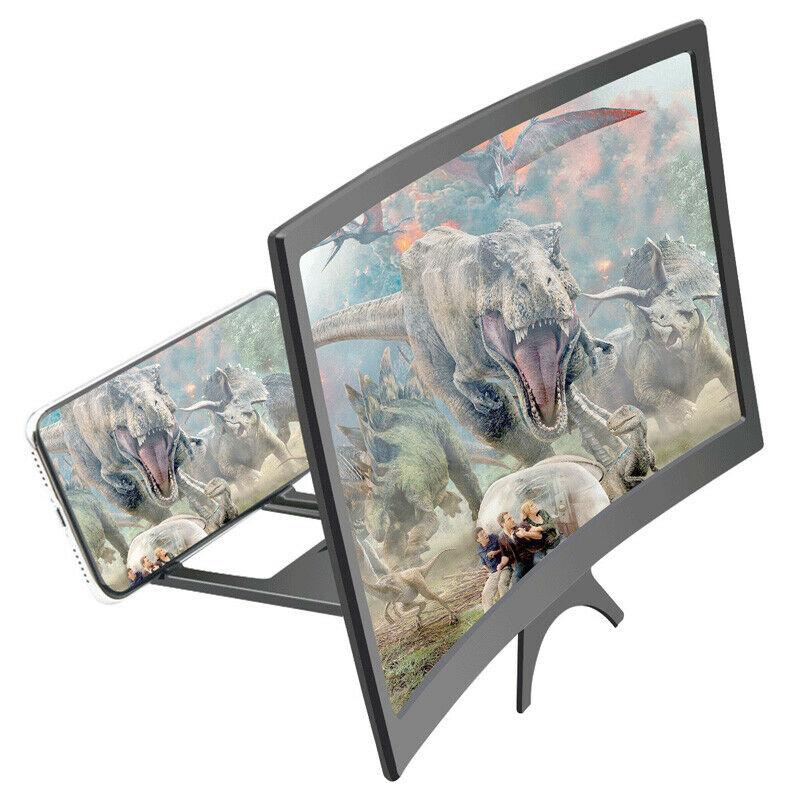 Otomobiller ve Motosikletler'ten Universal Araç Braketi'de 12 inç 3D film kavisli ekran büyütmek büyüteç HD projektör tutucu cep telefonu title=