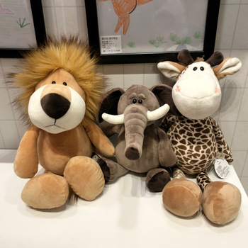 25cm zwierzęta leśne wypchane pluszowe lalki dla dzieci żyrafa słoń małpa lew tygrys pluszowe zabawki zwierzęta prezenty urodzinowe dla dzieci tanie i dobre opinie Animal 2-4 lat LION Pluszowe nano doll Miękkie i pluszowe Unisex Keep away from fire! GZ16 Pp bawełna