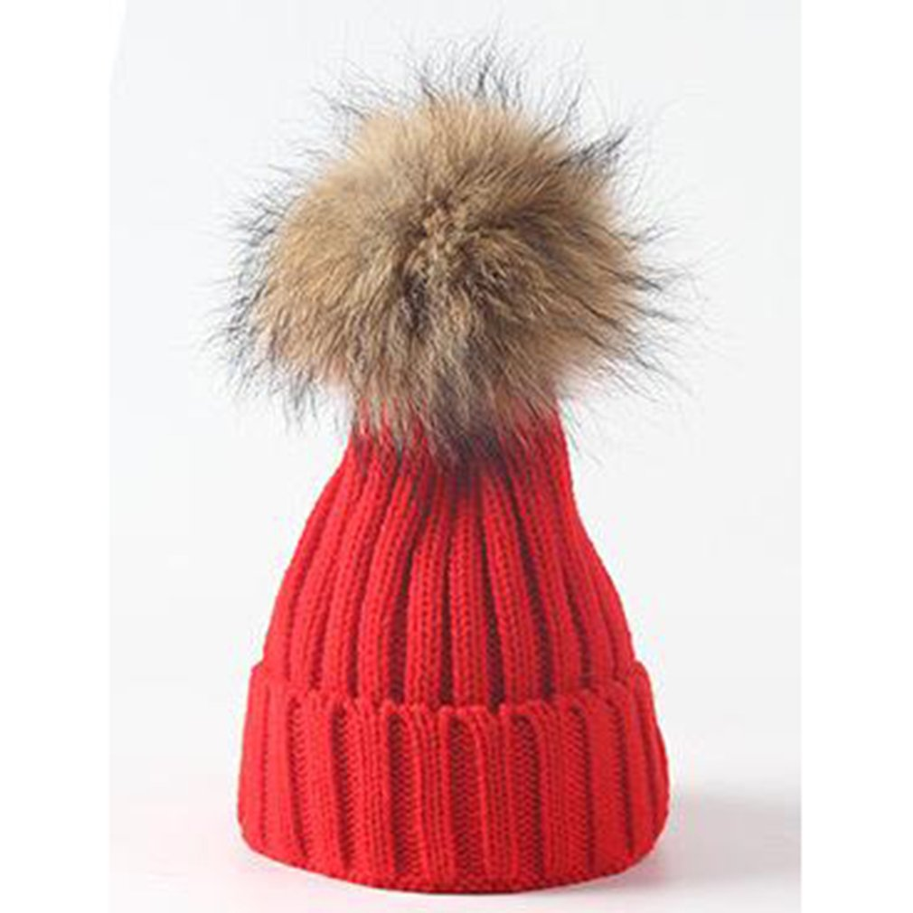 Winter Fashion Simple Baby Warm Cap Hairball Knitted Hat Solid Color Knitting Cap Outdoor Baby Warm Hat