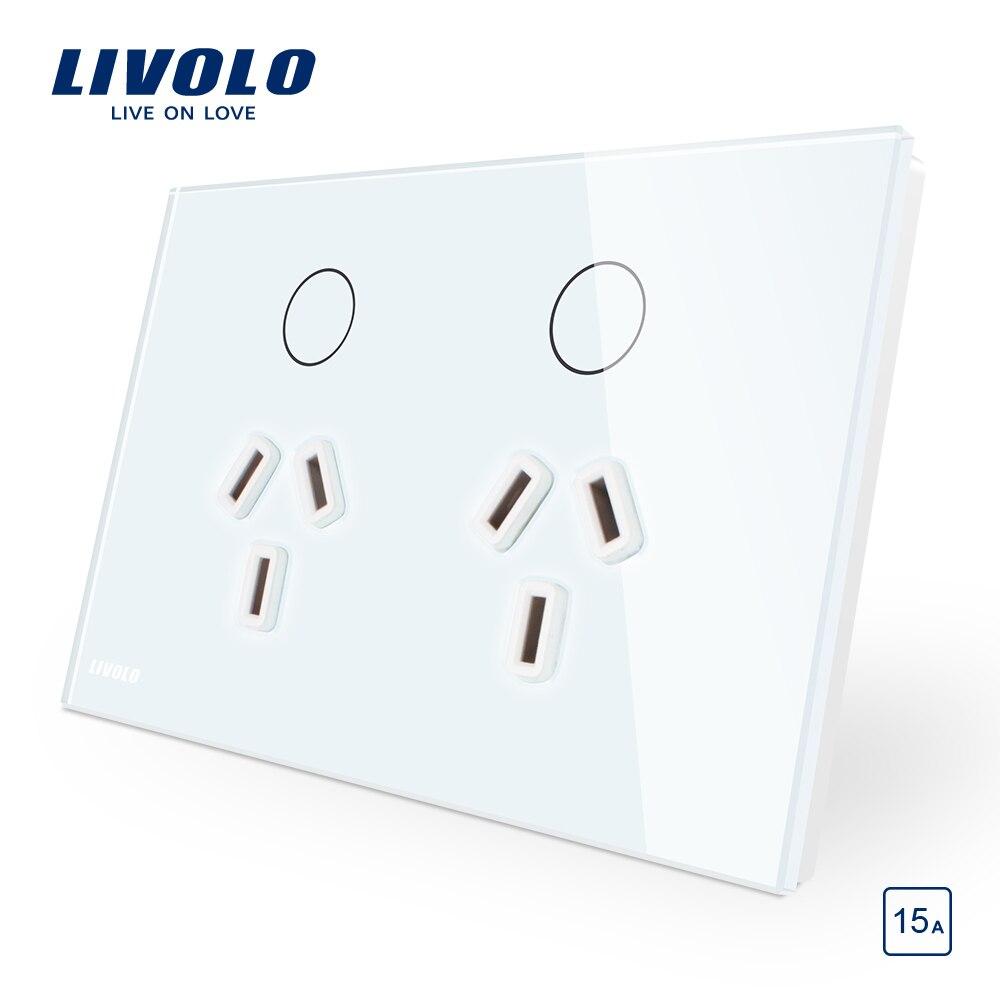 Livolo Australie Standard Tactile Contrôle 15A Prise De Courant, Blanc/Noir Plaque de Verre, AC 110-250 V. Double prise murale, commande tactile
