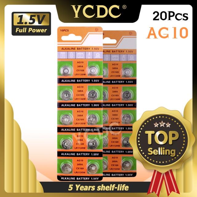 Дропшиппинг YCDC, 20 шт., батарейка AG10 LR1130 V10GA, Кнопочная монета для часов 189 389 390 LR54, лидер продаж + 50% скидка