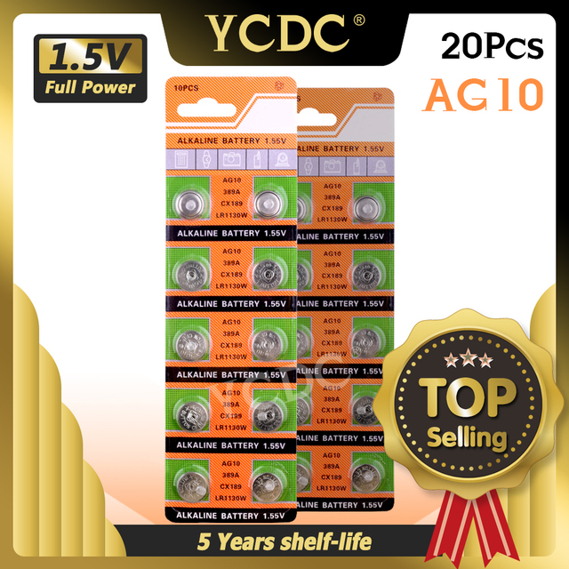 Ycdc Dropshipping 20Pcs AG10 Cell Coin Batterij LR1130 V10GA Horloge Button Coin 189 389 390 LR54 Batterijen + Hot selling + 50% Korting