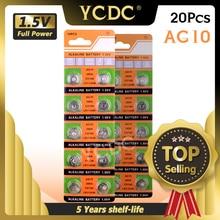 Ycdc bateria de moedas de células 20 pçs ag10, bateria de moedas lr1130 v10ga, botão de relógio, moeda 189 389 lr54 + baterias quente venda + 50% de desconto