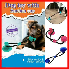 Pet Dog Rubber Ball Training Toy Chew Cleaning Teeth Safe Elasticity With Suction Cup Tools