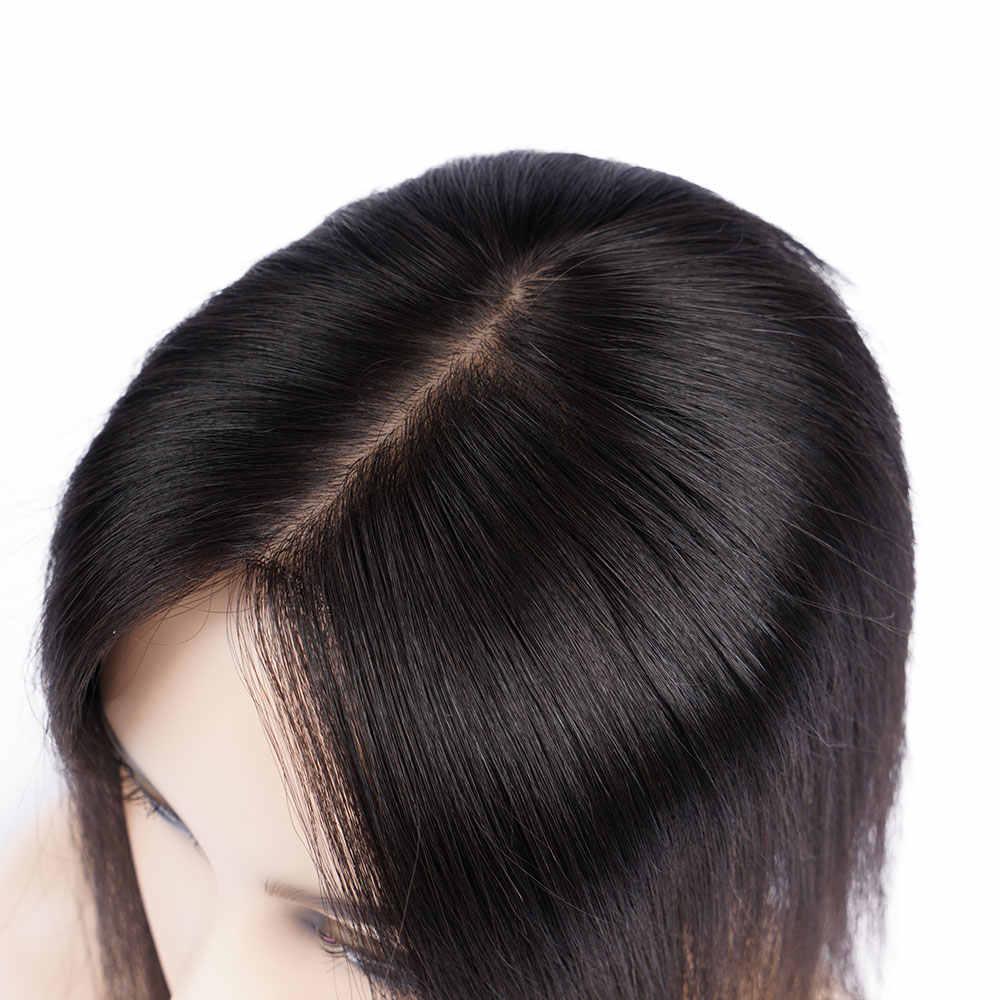 Doreen 8 인치 실크베이스 헤어 토퍼 버진 인간의 머리카락 Toupee 여성을위한 자연 색상 여성 Toupee 3 클립