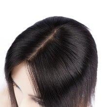 Doreen 8 cal Silk baza nakładka do włosów dziewicze włosy peruka dla kobiet naturalny kolor kobiety peruka z 3 klipy