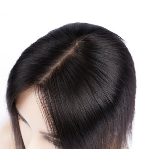 Image 1 - Doreen 8 inch Silk Base Hair Topper Virgin Human Hair Toupee  for Women Natural Color  Women Toupee with 3 clips