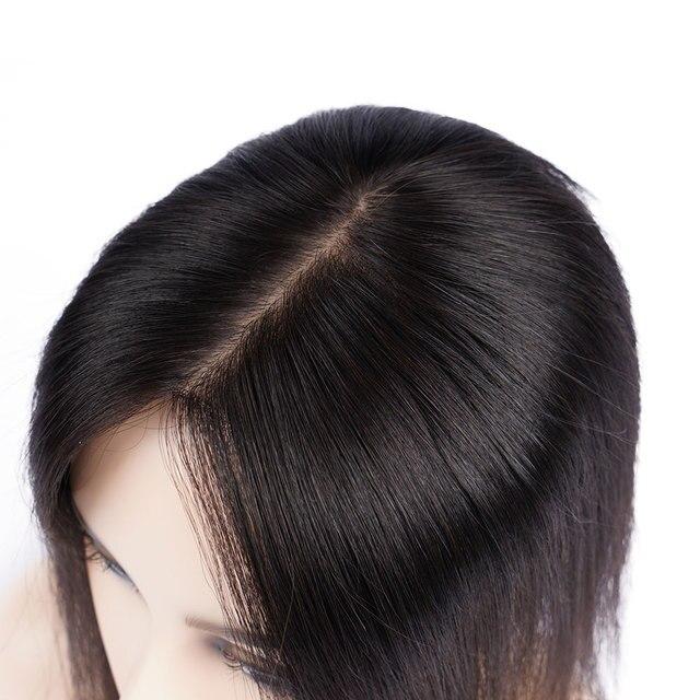 Doreen 8 inch Silk Base Hair Topper Virgin Human Hair Toupee  for Women Natural Color  Women Toupee with 3 clips