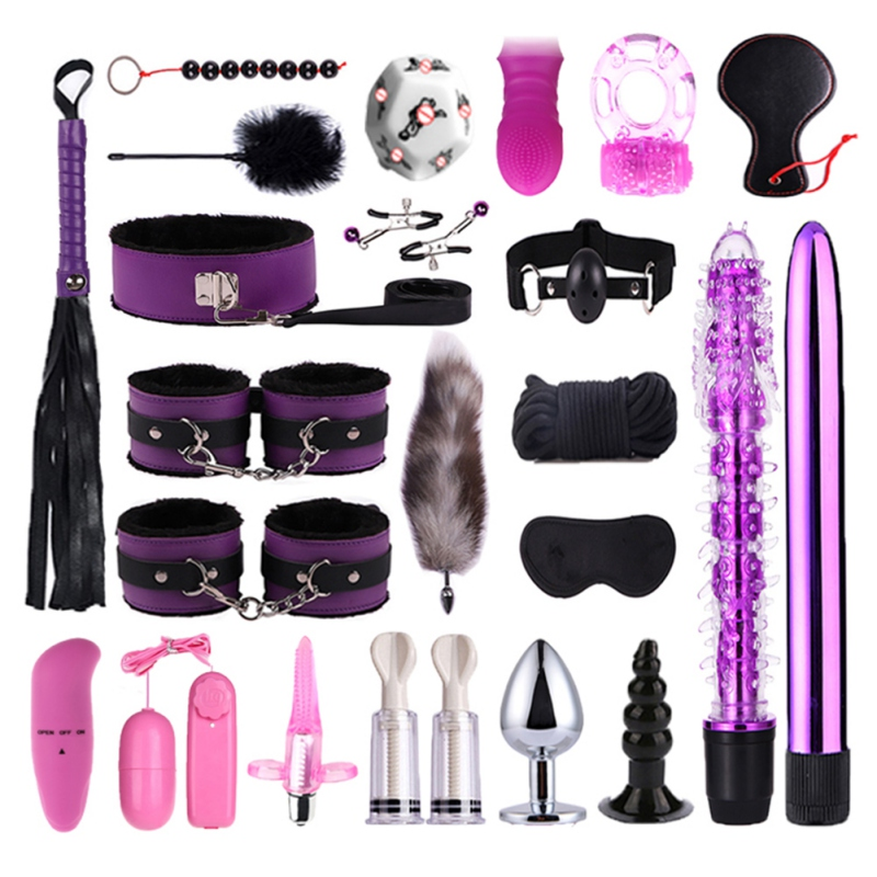 23 Piece Sex Toy Set Sexy Adult SM Games Sex Erotic Toys Anal Plug Masturbation Stick Handcuffs Adult Products