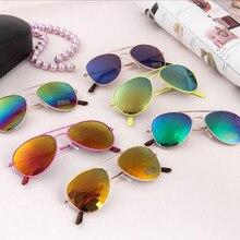 Reflexivo colorido crianças crianças crianças óculos de sol anti-uv meninas meninos vintage óculos de proteção ao ar livre