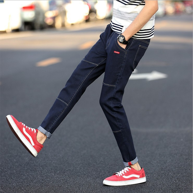 Men Summer Jeans Teenager Skinny Men's Black And White With Pattern Slim Fit Elasticity Men'S Wear Casual Capri Pants Sub-Fashio