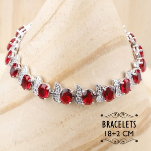 Image 2 - Costume Silver 925 Bridal Jewelry Sets Women Red Stones White Zircon Earrings/Rings/Pendant/Necklace/Bracelets Jewelery Gift Box