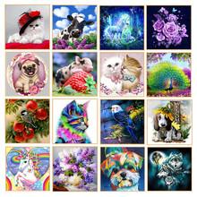 5D DIY Diamond Painting Cartoon Animal Flower Diamond Embroidered Part Round Rhinestone Cross Stitch Decoration