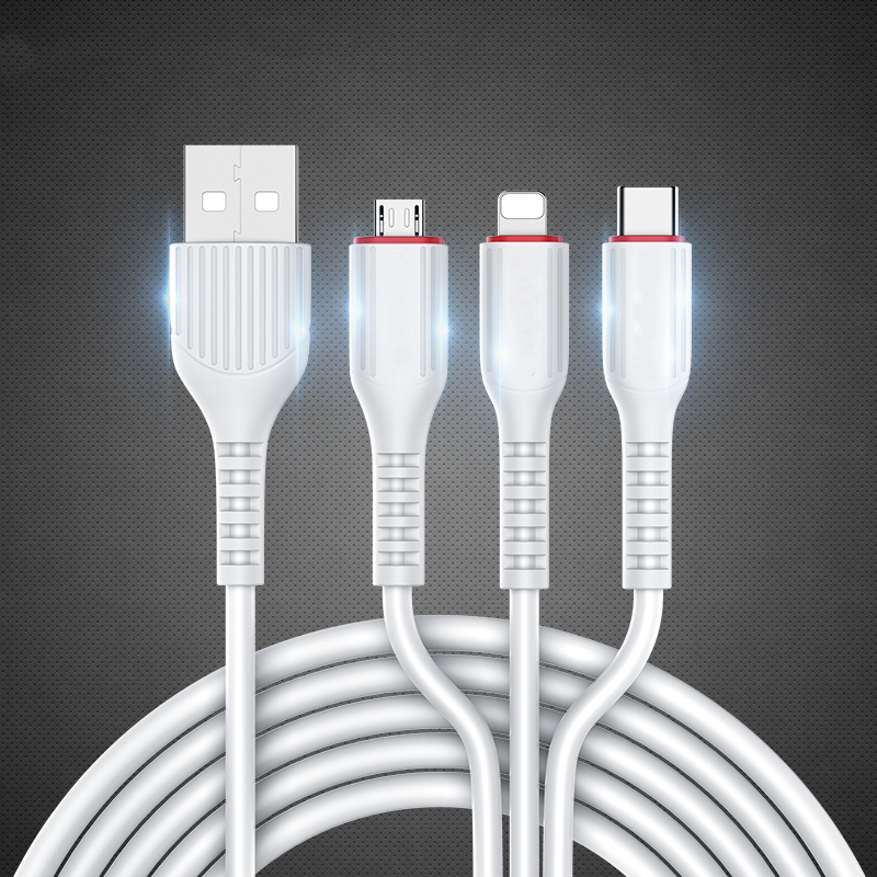 3 <font><b>in</b></font> <font><b>1</b></font> USB <font><b>Cable</b></font> 3.1A for Mobile Phone Micro USB Type C Charger <font><b>Cable</b></font> for Samsung Xiaomi Huawei Fast Charging Phone <font><b>Cable</b></font> Cord image
