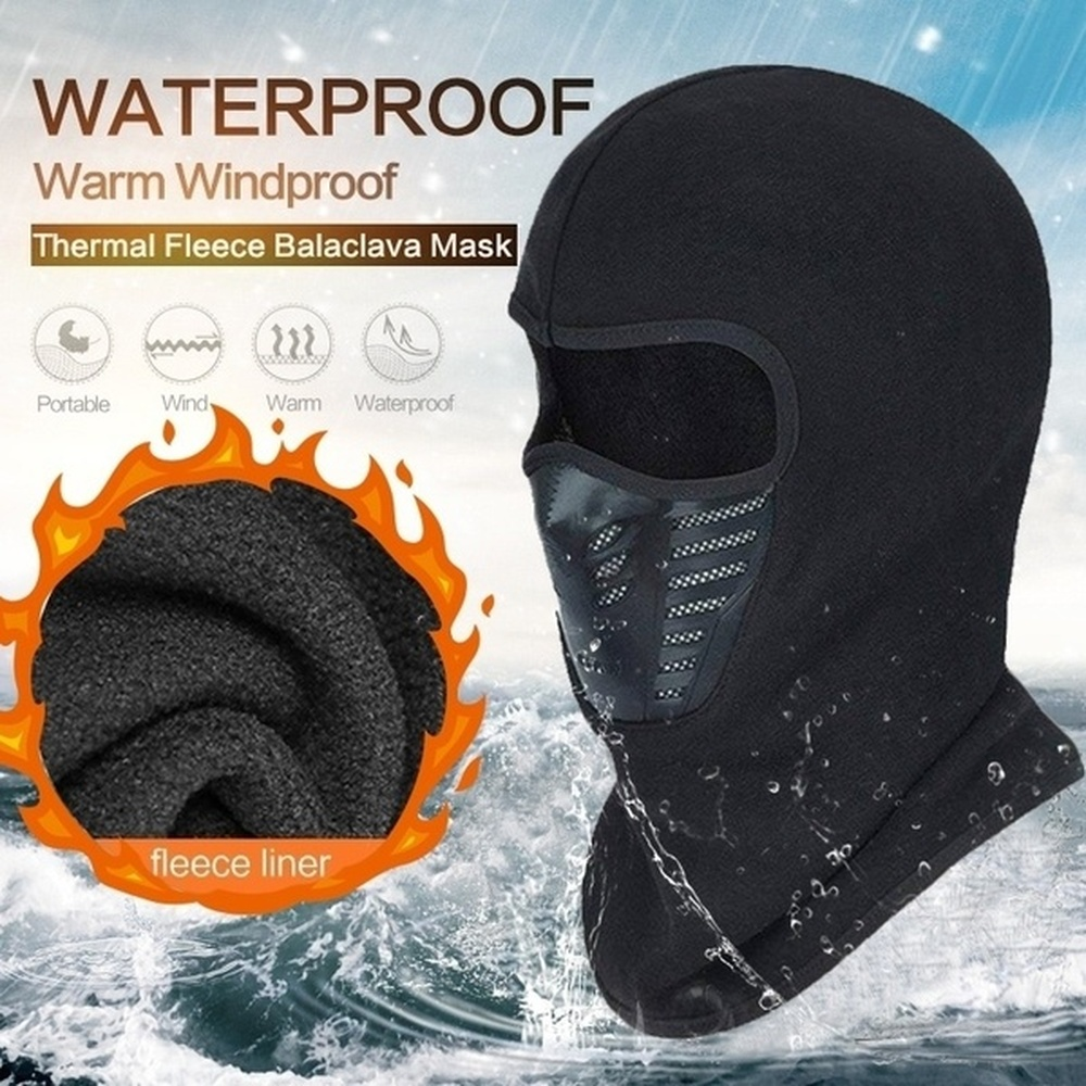 Winter Warm Motorcycle Face Mask Neck Scarf Active Carbon Filters Thermal Fleece Balaclava Motorcycle Waterproof Beanies