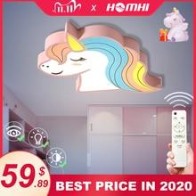 Unicorn ילדים חדר אור Led תקרת אורות עם שלט רחוק קריקטורה אהיל ילדים חדר חמוד תקרת מנורת דקו ילד חדר