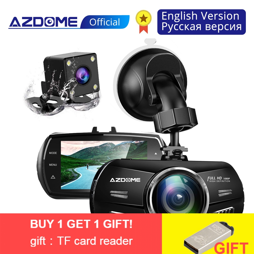 AZDOME m11Dash Cam FHD 1080p 3 inch 2.5D IPS Screen Car DVR Camera Loop recording dash Cam Video Recorder Dual Lens car Camera