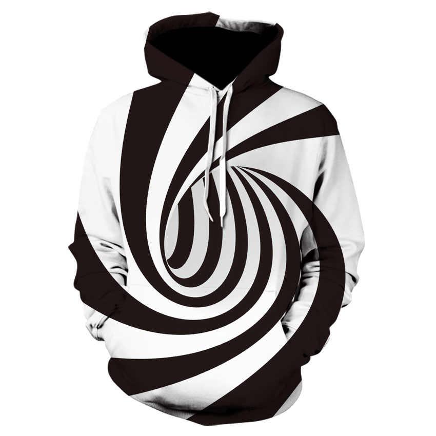 Sudadera deportiva delgada de manga larga con capucha de rayas blancas y negras con capucha con estampado abstracto chaqueta casual de moda para hombres y mujeres