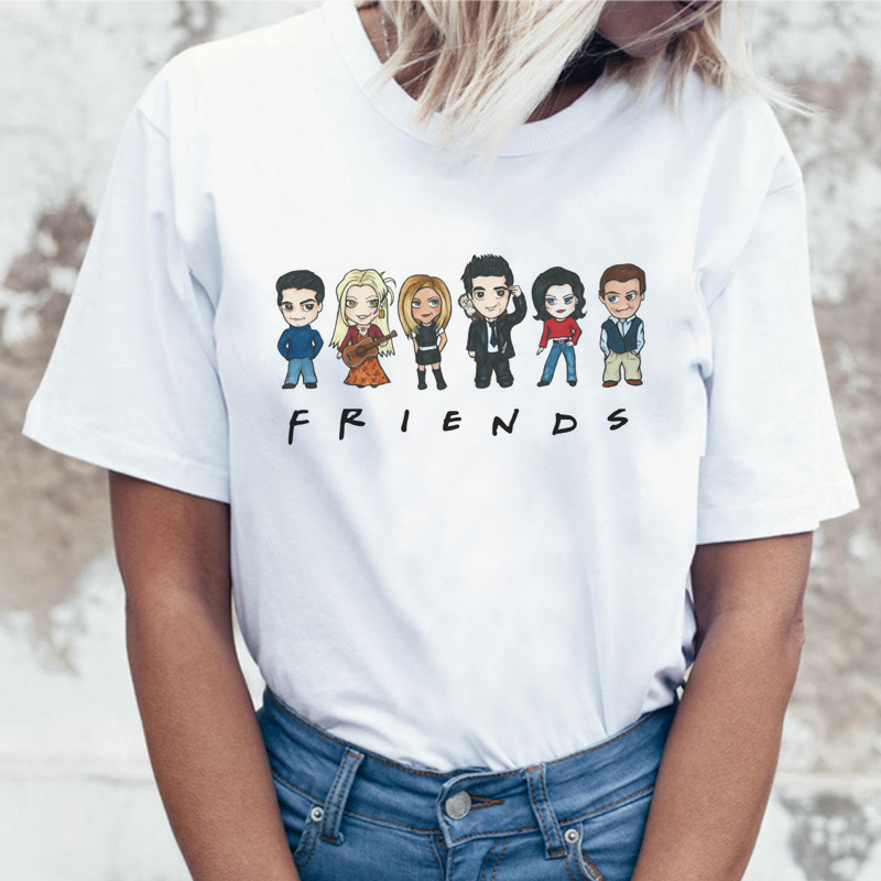 LUSLOS Friends Tv Show T Shirt Clothing Korean Tshirt 90s Women Female Top Tee Shirts Graphic T-shirt Summer Casual Short Sleeve
