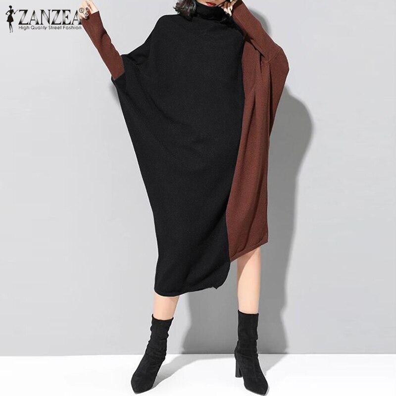 Women's Stitching Sundress ZANZEA 2020 Kaftan Turtleneck Vestidos Casual Long Sleeve Tunic Dress Female O Neck Robe Oversized 7